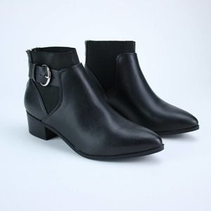 Black Booties Buckle Style Pointed Faux Leather
